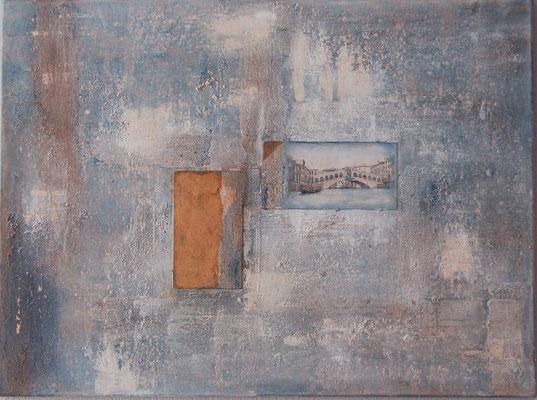 """"""" Venezianische Patina """" Acryl auf Leinwand 80 x 60 cm  Eisen- und Acrylplatte teilweise vergoldet, Sand aus Venedig  (verkauft)"""