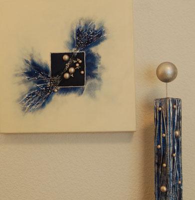 """ Kugeln "", Acryl auf XL-Leinwand, 40 x 40 cm, Dekosäule aus Massivholz ca. 40 cm hoch"