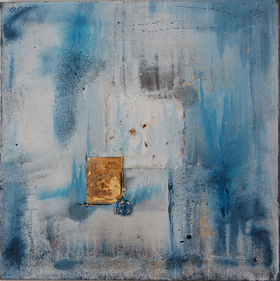 """"""" Meerestiefe """" Acryl auf Leinwand 80 x 80 cm Büttenpapier mit Blumen, Sand aus Venedig, Eisenplatte vergoldet"""
