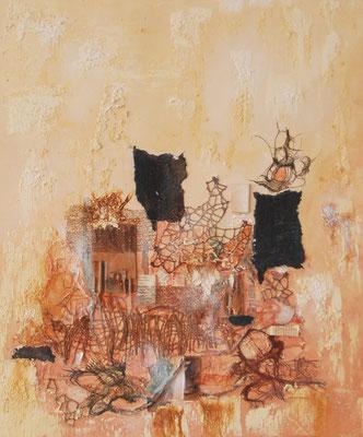 """"""" Dame mit Hut und Buch """", Collage auf Leinwand, 50 x 60 cm, Acrylfarben, Stoff, Buchseiten und Büttenpapier"""