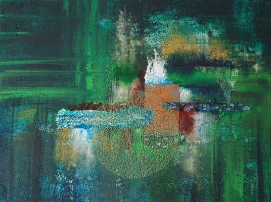 """"""" Materialmix Composition """", Acryl auf XL - Leinwand 80 x 60 cm, Stoff, Baumwollgarn, Aluminiumfolie und Eisenplatte"""