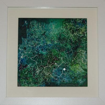"""""""Glitzerwelt"""", Acryl auf Malplatte, 20 x 20 cm, gespachtelt, Glitzersteine (verkauft)"""