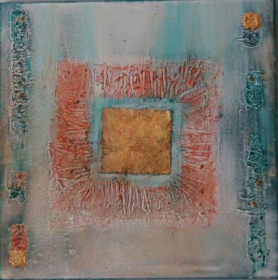 """"""" Harmonie """" Acryl auf Leinwand 60 x 60 cm  Büttenpapier vergoldet, Sand und Muschelkalk aus Norderney"""