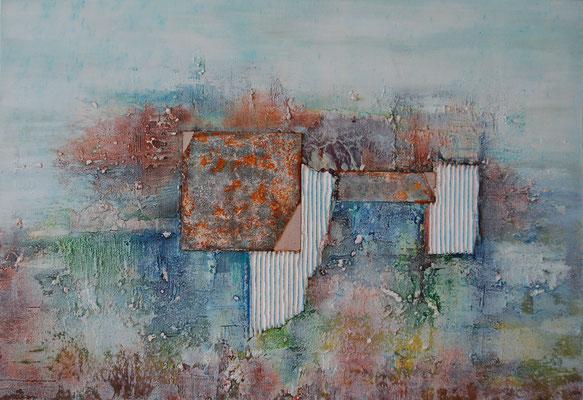 """""""Material Mix"""", Acryl auf Leinwand, 100 x 70 cm, gespachtelt, Torchon-Papier, Eisenplatte verrostet (verkauft)"""