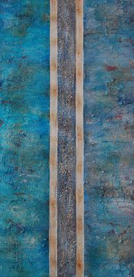 """"""" Gespachtelt """", Acryl auf Leinwand, 40 x 80 cm, grob gespachtelt"""