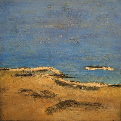 Acryl auf Leinwand, 70 x 70 cm, leicht gespachtelt, Bitumen, Blattgold (verkauft)