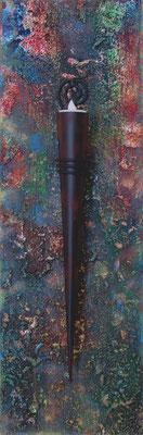 """""""Gespachtelt"""", Acryl auf Leinwand, 20 x 60 cm"""