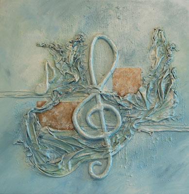 """"""" Der Schlüssel zur Musik """", Acryl auf Leinwand 70 x 70 cm, Stoff, Eisenplatten, light Knete"""