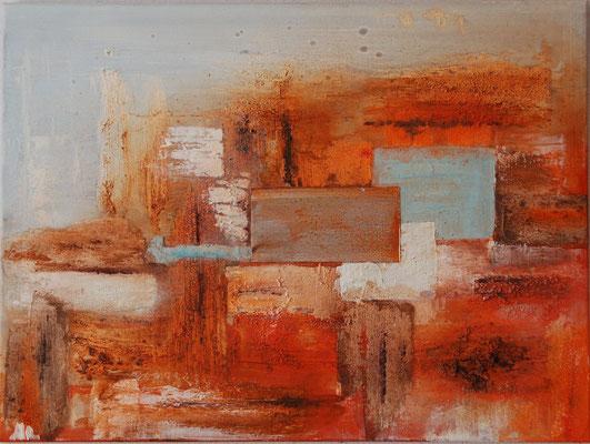 """"""" Die Kraft der Farben """" Acryl auf Leinwand 80 x 60 cm Büttenpapier, Eisenplatte (verkauft)"""