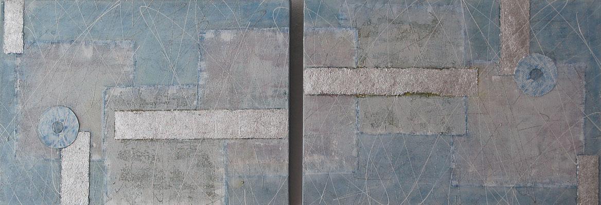 """ Duo Quadrat "", Acryl auf XL-Leinwand, je 70 x 50 cm, gespachtelt, Kaffeesatz versilbert"