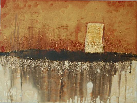 """ Das goldene Element "" Acryl auf Leinwand 80 x 60 cm  Büttenpapier vergoldet, Sand aus Venedig"