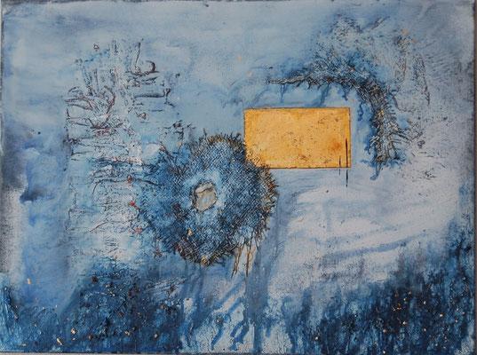 """"""" Die verborgene Kraft"""" Acryl auf Leinwand 80 x 60 cm Jute, Sand aus Oostkapelle mit Muschelkalk, Eisenplatte vergoldet (verkauft)"""
