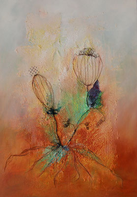 """""""Wunschblumen"""", Acryl auf Leinwand 50 x 70 cm, Hanf, Büttenpapier und Draht"""