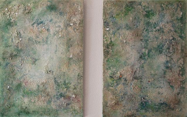 """""""Spiegelnder Nebel"""", Acryl auf Leinwand, je  50 x 70 cm, gespachtelt, mit Spiegelbruch verziert"""