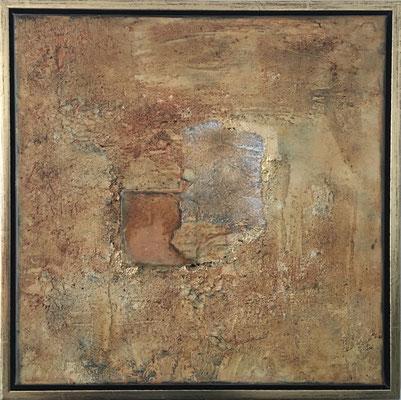Acryl auf Leinwand, 50 x 50 cm, gespachtelt mit Eisenplatte, im Schattenfugenrahmen