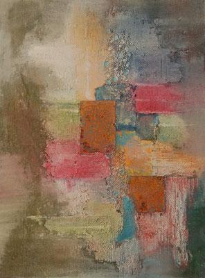 """"""" Pastell abstrakt """", Acryl auf Leinwand, 60 x 80 cm, Büttenpapier, Stoff und Eisenplatten  (verkauft)"""