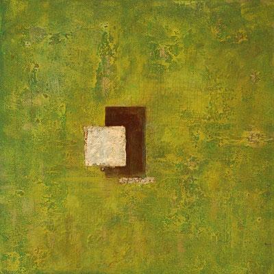 """"""" Beständigkeit """", Acryl auf Leinwand 70 x 70 cm, Eisenplatte verrostet und Büttenpapier vergoldet   (verkauft)"""
