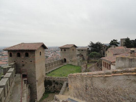 Carcassonne - Gallo-romanische Türme mit Hohlziegeln