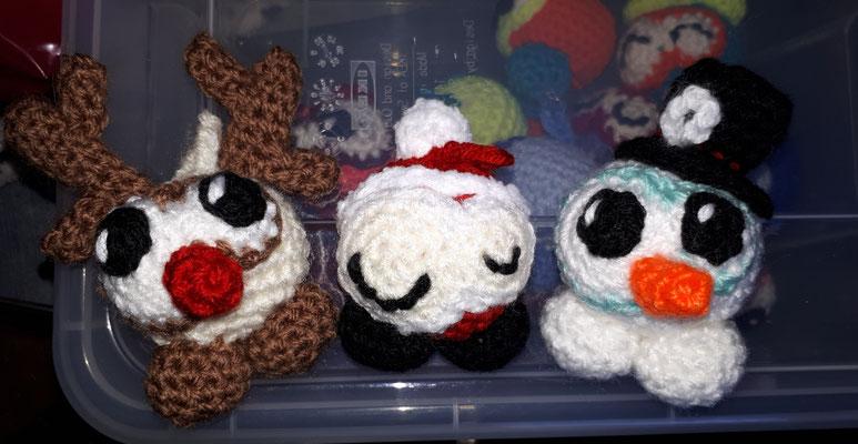 Amigurumi Knobblies Elch, Weihnachtsmann & Schneemann
