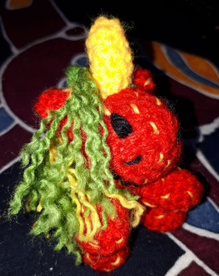 Amigurumi Anhänger Erdbeer Einhorn