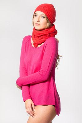 T-Shirt Pullover mit Schal und Mütze in Perlmuster