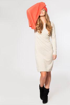 Kleid mit Wickeloptik und Feinstrick-Stola
