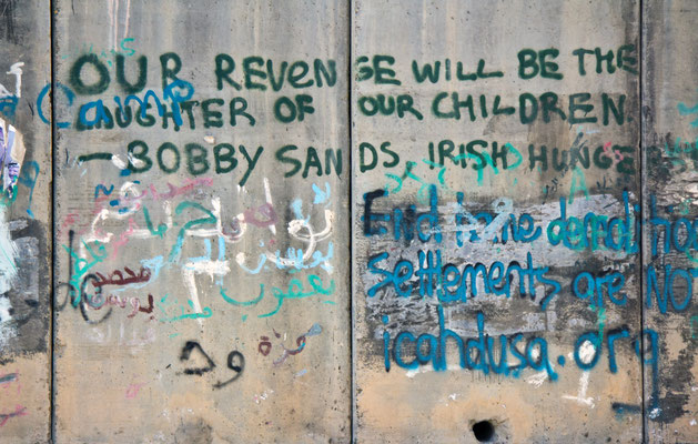 Figure 14. Bobby Sands quote on the separation barrier in Al-Ram near the Qalandiya Checkpoint. Photograph taken 2014