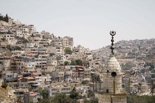 Looking across the Kidron Valley from the Silwan neighborhood in East Jerusalem, July 2011