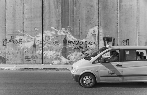 The practicalities of moving students in and out of nearby Al-Quds University in Abu Dis created a road along this section of separation barrier and practically obliterated the protest tourist, crucified dove message. November, 2012