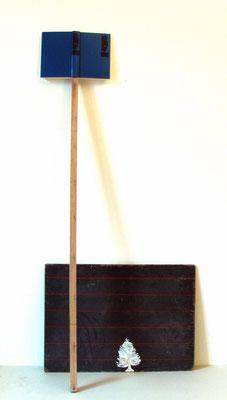 Ich sag dir alles, 2009, Wandtafel, Tipp-Ex, Holz, Lexikon, 70 x 154 cm