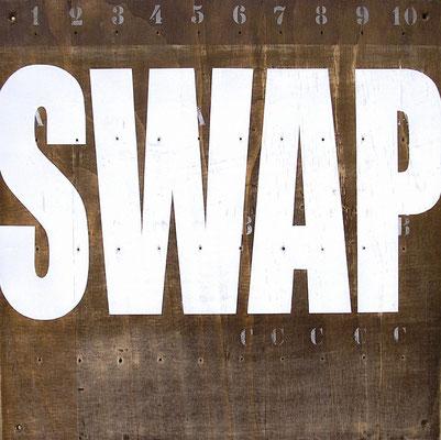 SWAP, 2006, Autolack, gebeiztes Sperrholz, 50 x 50 cm