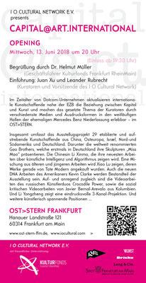 Capital@Art. International. Plakat. Einladungskarte mit den Rednern Juan Xu, Leander Rubrecht und Dr. Helmut Müller