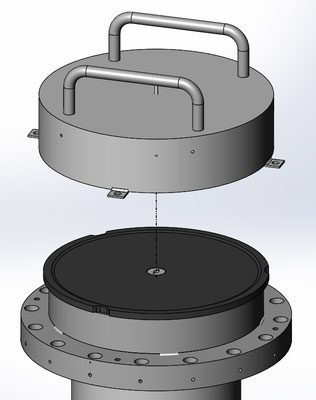 """UHV-Heiztisch für 6"""" Silizium-Wafer - CAD"""
