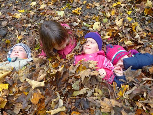 ein Blätterbett