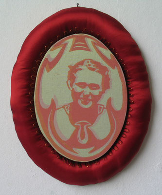 Medallion, rote Reihe Nr. 1, 2011, Linoldoppeldruck und Mischtechnik
