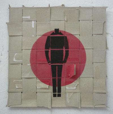 er, Linoldruck auf verwebter Pappe, 2015