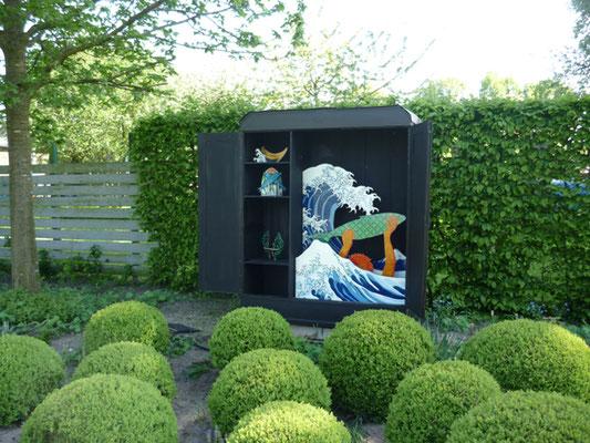 Fischen vorm Fuji, Skulpturengarten Dümmer See, 2015