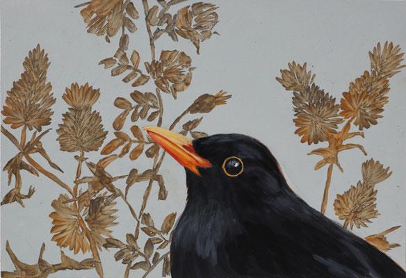 Blackbird, 2021, 22,8 x 33,5, Acryl auf MDF