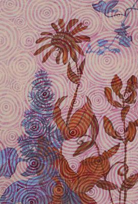 Blumen und Kreise, 2021, 33,5 x 22,8 cm, Acryl auf MDF