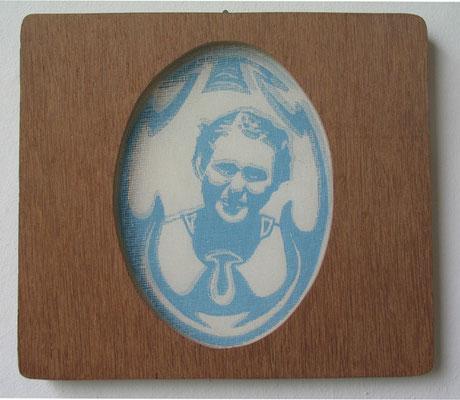 Medallion, blaue Reihe, 2011, Linoldoppeldruck auf Papier und Gaze