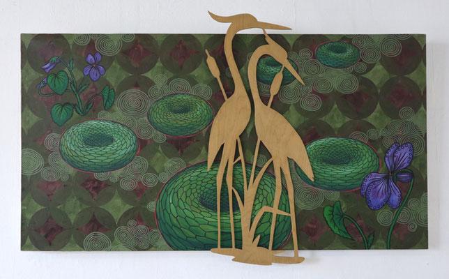 Ein paar von den Schlangendonuts ++, 2014/2020, ca. 100 x 150 cm, Acryl auf Nessel, Beize auf Holz