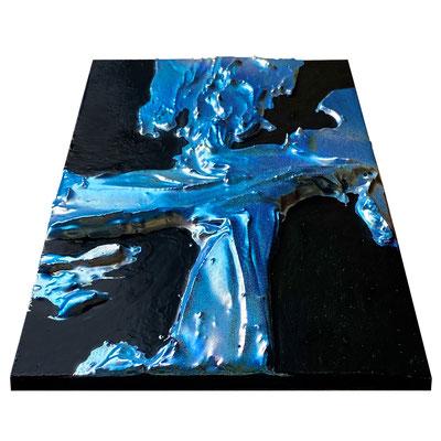 """2021 カイラルペイント「虹色サンゴ」  Chiral Paint """"Iridescent Coral""""  Acrylic on plywood 210x148mm"""