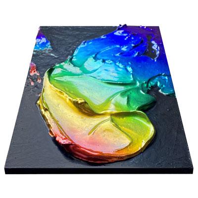 """2021 カイラルペイント「スペクトラム)」 Chiral Paint """"Spectrum""""  Acrylic on plywood 210x148mm"""