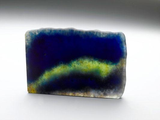 Fusion bleu jauneFusing glass recto