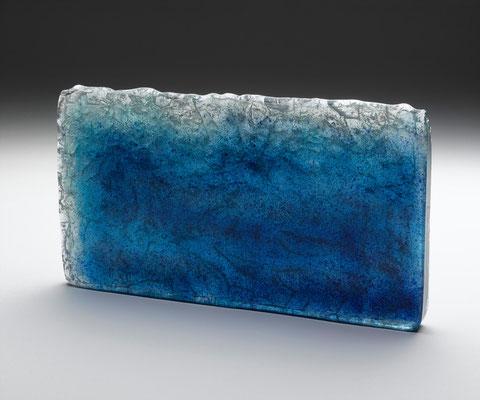 Fusion bleu Fusing glass 40x30x3,5 cm