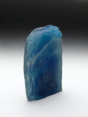 Fusion bleu sablé Fusing glass verso