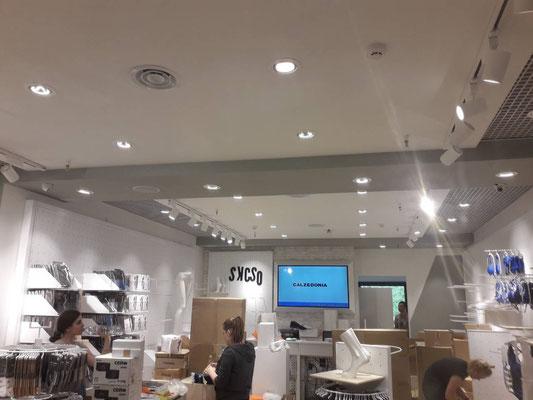 Подключение светильников в магазине Calzedonia