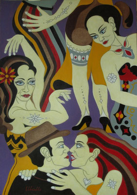 Tanzen I Öl auf Karton - 70 x 100 cm
