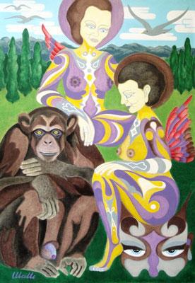 Der Affe - Vater aller Gedanken I Öl auf Karton - 70 x 100 cm