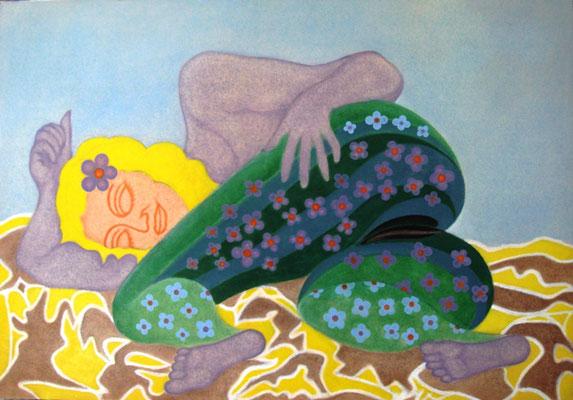 Blümchenfrau I Öl auf Karton - 100 x 70 cm